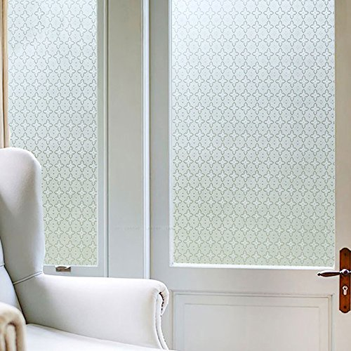 asibgホームオフィスバスルームガラスウィンドウステッカーウィンドウ曇りガラスステッカーHome Furnishingリビングルームベッドルームバスルームウィンドウ透明不透明Film、Goldenジャスミン60 cm / 2 M Wide B07353KB68