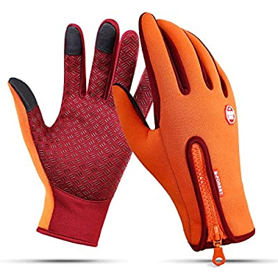 Nurbijar Cycling Gloves Windproof Touch Screen Winter Gloves Adjustable Size Outdoor Waterproof Gloves