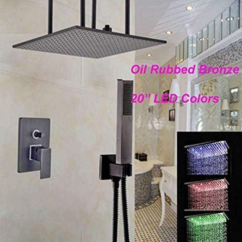 Yadianna セットの3つのLEDの色を変更するオイルラビングブロンズ20インチのシャワーの蛇口シングルハンドルのミキサーのタップセールシャワー