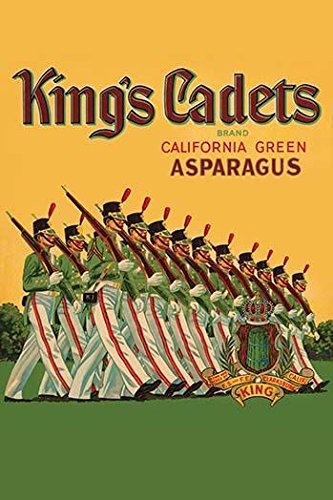 Asparagus Label - Vegetable crate label for asparagus from California sold under the brand name Kings Cadets Features soldiers in parade uniform marching Poster Print by unknown (24 x 36)