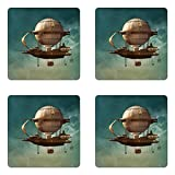 Ambesonne Fantasy Coaster Set of Four, Surreal Sky Scenery with Steampunk Airship Fairy Sci Fi Stardust Space Image, Square Hardboard Gloss Coasters for Drinks, Teal and Brown