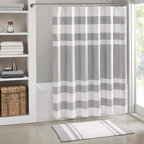 White Grey Spa Shower Curtain, Horizontal Stripe Design Waffle Cotton Fabric, Luxurious Serene Tranquil Light Bathroom Master Bath Washroom Decor, 72
