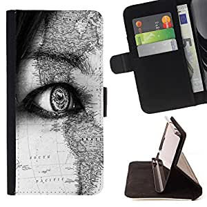 - Eye Map/ Personalizada del estilo del dise???¡Ào de la PU Caso de encargo del cuero del tir????n del soporte d - Cao - For Samsung Galaxy S6