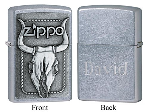 (Personalized Zippo Bull Skull Emblem Street Chrome Lighter with Free Engraving)