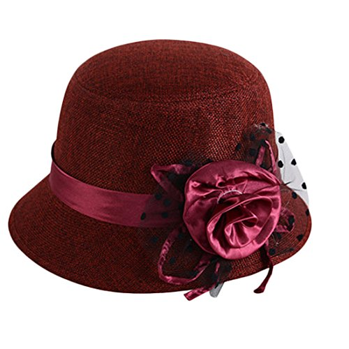 Voberry Women's Retro Ribbon Flower Bow Solid Color Fedora Bowler Hat Caps ()