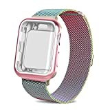 AdMaster for Apple watch band 42mm, Stainless Steel Mesh Milanese Sport Wristband Loop with Apple Watch Screen Protector for iWatch Series 1/2/3 Colorful