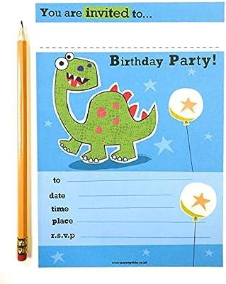 20 invitaciones de la fiesta de cumpleaños de los niños dinosaurio, color azul