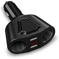 Two Socket Auto Car Cigarette Lighter Splitter Dual USB Car Charger Adapter with 2 Socket Cigarette Lighter Adapter (Black)