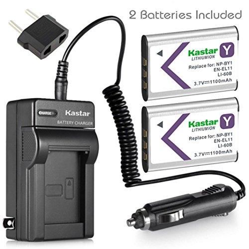 Kastar Battery 2X + Charger for NP-BY1 EN-EL11 LI-60B DLI-78 DB-L70 DB-80 Sony Action Cam Mini HDR-AZ1 Olympus FE-370 Nikon Coolpix S550 S560 Optio L50 M50 M60 V20 W60 W80 Ricoh R50 VPC-E10