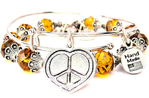 art Shaped Peace Sign Chocolate Brown Crystal Bracelet with Adjustable Wire Bangle (Peace Heart Bracelet)