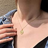 Carved Gold Coin Pendant Necklace for Women Girls