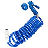 Dura Faucet RV Exterior Quick Connect Sprayer with 7 Settings and a 15-Foot Coiled Hose - Replacement for ONLY Dura Faucet Exterior Sprayer Kits (Blue)