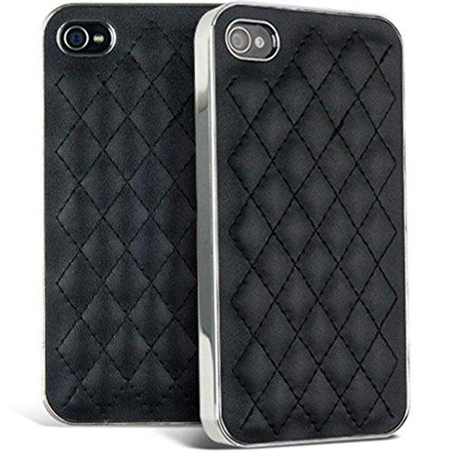 Mobile Case Mate iPhone 5 5s noir Matelassé Cuir avec Bords argent clip on Dur Coque couverture case cover Pare-chocs avec Stylet
