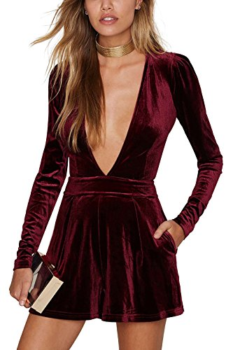 YOINS Women Sexy Playsuit V Neck Long Sleeves Velvet Jumpsuit Plunge Burgundy US 2