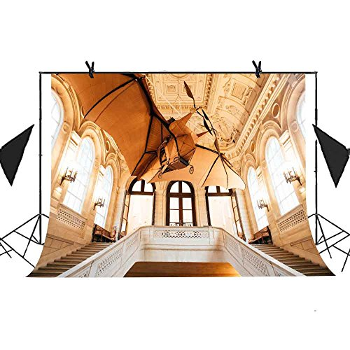 MEETS 10x7ft European Architecture Backdrop Windows Sunlight Railing Stairs Wood Flyer Yellow Background Wedding Photography Studio Props Theme Party Photo Booth Background MT273