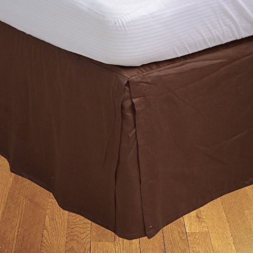 Chocolate Suede King Bedskirt - Relaxare Queen 300TC 100% Egyptian Cotton Chocolate Solid 1PCs Box Pleated Bedskirt Solid (Drop Length: 23 inches) - Ultra Soft Breathable Premium Fabric