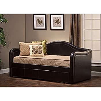 Bowery Hill Faux Leather Daybed with Trundle in Brown