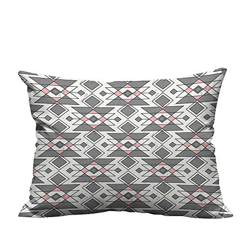 alsohome Decorative Throw Pillow Case Pattern with Traditional Aztec Culture Effects Tribal Print Grey Pearl Light Pink Cotton Linen Durable19.5x30 inch(Double-Sided Printing)