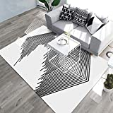 YAMTION Living Room Rugs, 4'x 6 Modern Multi-Function Area Rugs Collection, Non Slip Abstract Striped Black Soft Carpet, Indoor Bedroom Rugs in Nursery, Dining Room, Office, Dormitory