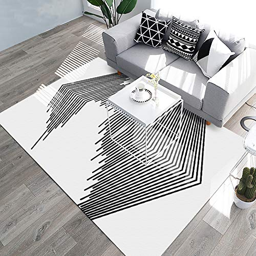 (YAMTION Living Room Rugs, 4'x 6 Modern Multi-Function Area Rugs Collection, Non Slip Abstract Striped Black Soft Carpet, Indoor Bedroom Rugs in Nursery, Dining Room, Office,)