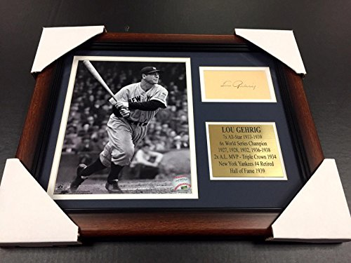 Lou Gehrig Photograph - Signed Lou Gehrig Photo - Cut Facsimile Reprint Framed 8x10 - Autographed MLB Photos