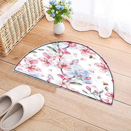 Dining Room Home Bedroom Carpet Floor Mat Vintage SPR Garden Background with Pink Flowers Bloom branche Soft Area Rugs W39 x H28 INCH