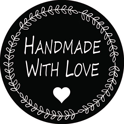 """1.5"""" Inch Round Handmade with Love Stickers in Black and White, 500 labels per Roll. from Garage Sale Pup"""