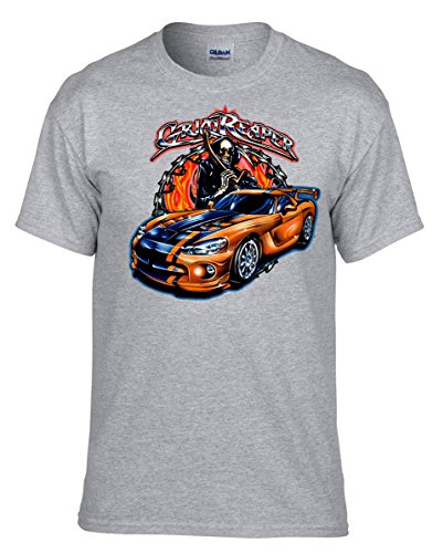 Tuning Racing Auto Reaper Totenkopf T-Shirt -294 Grau