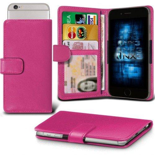 HTC One M9s Titular de la tarjeta identificación de la carpeta de muelle ajustable cubierta de la caja (Rosa caliente) Plus de regalo libre, Protector de pantalla y un lápiz óptico, Solicitar ahora me