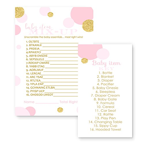 Paper Clever Party Pink and Gold Baby Shower Game Word Scramble ( 25 Pack ) -
