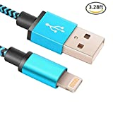 Lightning Cable, iPhone Charger Nylon Braided Tangle-Free USB Charging Cord for iPhone 7/7 Plus/6S /6 Plus/6S/6/SE/5S/5C/5, iPad4, iPad Pro, iPad Air, iPad Mini by Rephoenix(blue-1m)