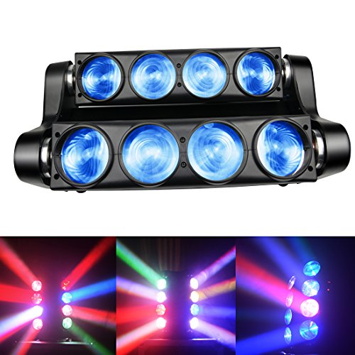 Spider Moving Head Strobe Light 100W,RGBW LED Stage Lighting, DMX DJ Light with Gobo Pattern for Party Disco Wedding KTV Club Party and More Performance Places ()