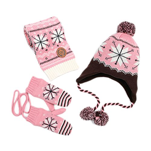 Kisbaby Girl's Fleece-lined Winter Hat Scarf and Gloves Set with Snowflake Pattern (Pink, 1-3 ()