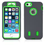 iPhone 5S Case, iPhone 5 Case, MagicMobile® Ultimate Protective Heavy Duty Case for iPhone 5 / 5s Dual Hybrid Shockproof Impact Resistant Armor Cover Dark Gray Silicone and Neon Green Hard Plastic