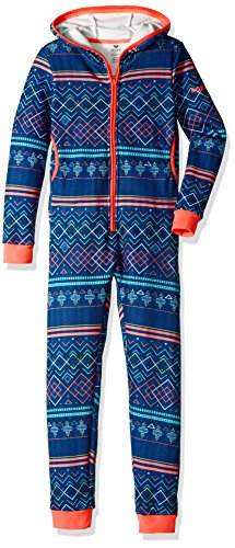 Alpine Ski Cinch - Roxy Big Girls' Cosy up Fleece One Piece, Sodalite Blue_Asta Fairisle, 8/S