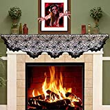 Hecentur Halloween Decoration Black Lace Spiderweb Fireplace Mantle Scarf Cover Festive Party Supplies 20 x 80 Inch Review