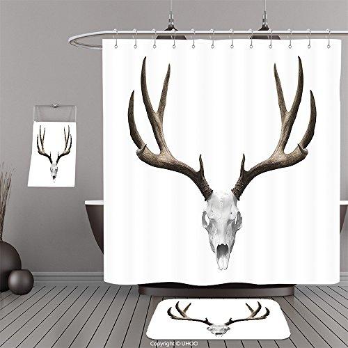 Uhoo Bathroom Suits & Shower Curtains Floor Mats And Bath TowelsAntlers Decor A Deer Skull Skeleton Head Bone Halloween Weathered Hunter Collection For Bathroom