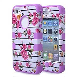 JAJAY- Stripes Flowers Shockproof Anti-shock Soft TPU Rubber Hard Back Cover for iPhone4/4S , Purple