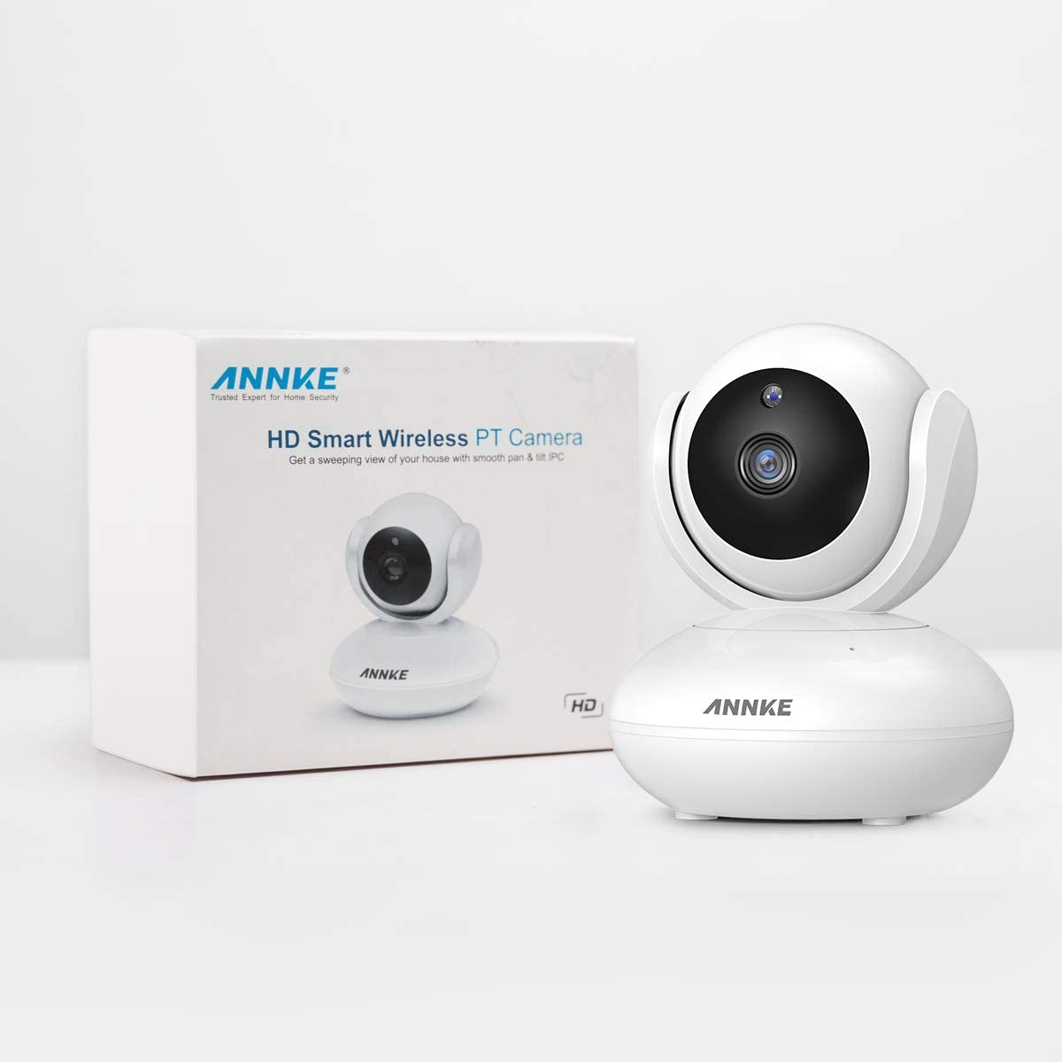 ANNKE 1080P Home Security Camera, Smart Wireless WiFi Pan Tilt IP Camera with Night Vision, App Alarm Push, Two-Way Audio, Supports 64 GB TF Card, Cloud Storage, Works with Alexa Echo Show White