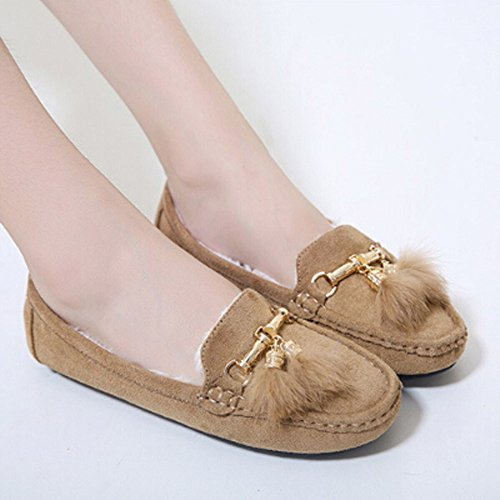 Tantisy ♣↭♣ Girls Soft Cotton Warm Shoes Baby Cute Bow Pea Boots Ladies Casual Tassel Flats Shoes Beige by Tantisy ♣↭♣ (Image #1)