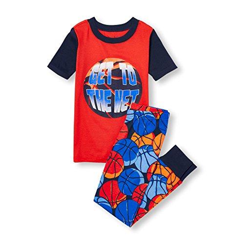 Basketball Boys Pajamas - The Children's Place Big Little Boys' Top and Pants Pajama Set 2, Basketball (Heat Wave) 76487, 6