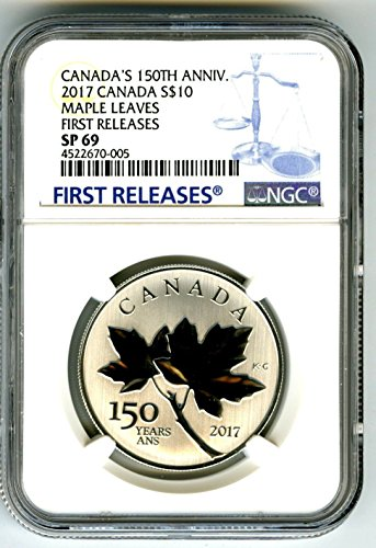 2017 CA 150TH ANNIVERSARY Canada Silver Maple Leaves Leaf First Releases Rare Blue Label 1/2 Oz $10 SP69 NGC (Coin Ngc 10)