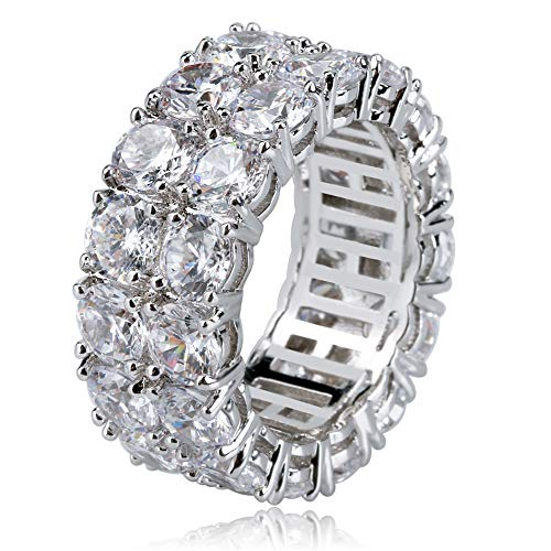 TOPGRILLZ 9mm 2 Rows Round Cut 14K Gold and Silver Plated Iced Out CZ Lab Diamond Eternity Wedding Engagement Band Ring for Men and ()
