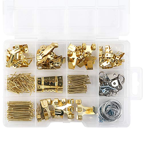 Coceca Assorted Picture Hanging Kit | Picture Hangers 276pcs Assortment with Wire, Hooks, Nails,Sawtooth Backs, D-Ring and Ring Hooks for Frames