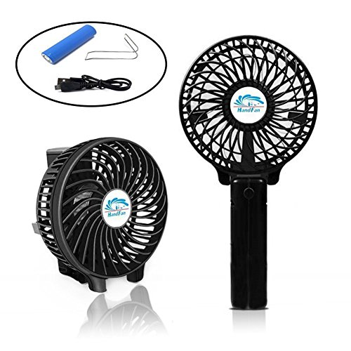 CFZC Newest Mini Personal Rechargeable Handfans USB Battery Operated Electric Personal Fans for Home Desktop Travel and Outdoor 18650 Battery USB Cord included(color Black) by CFZC