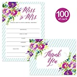 Bridal Shower Invitations & Matched Thank You Notes ( 100 of Each ) Beautiful Set with Envelopes, Large Gathering Bride Celebration Fill-in-Style Invites & Folded Thank You Cards Best Value Pair