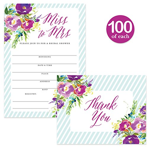 Bridal Shower Invitations & Matched Thank You Notes ( 100 of Each ) Beautiful Set with Envelopes, Large Gathering Bride Celebration Fill-in-Style Invites & Folded Thank You Cards Best Value Pair by Digibuddha