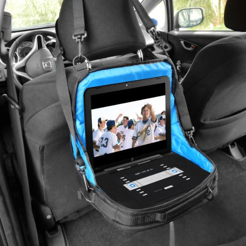 "Portable DVD Player Headrest Car Mount with Accessory Pockets by USA GEAR - Works with DBPOWER 9.5 Inch , Sylvania SDVD10408 , Ematic EPD909 & More 7-10"" Portable DVD Players from Electronic-Readers.com"