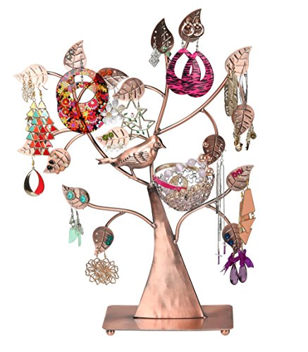 Finnhomy Nest Metal Earring Tree, Jewelry Display Necklace Holder Bracelets Stand for Ring, necklaces, Jewelry Organizer Jewelry Storage Bronze (Antique) Cardinal Nest