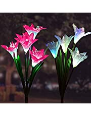 Solar Garden Outdoor Lights, 2Packs Solar Flower Lights Outdoor Color Changing Decorative Landscape Lawn Yard Stake Patio Lily Lights Solar Powered (White & Purple)